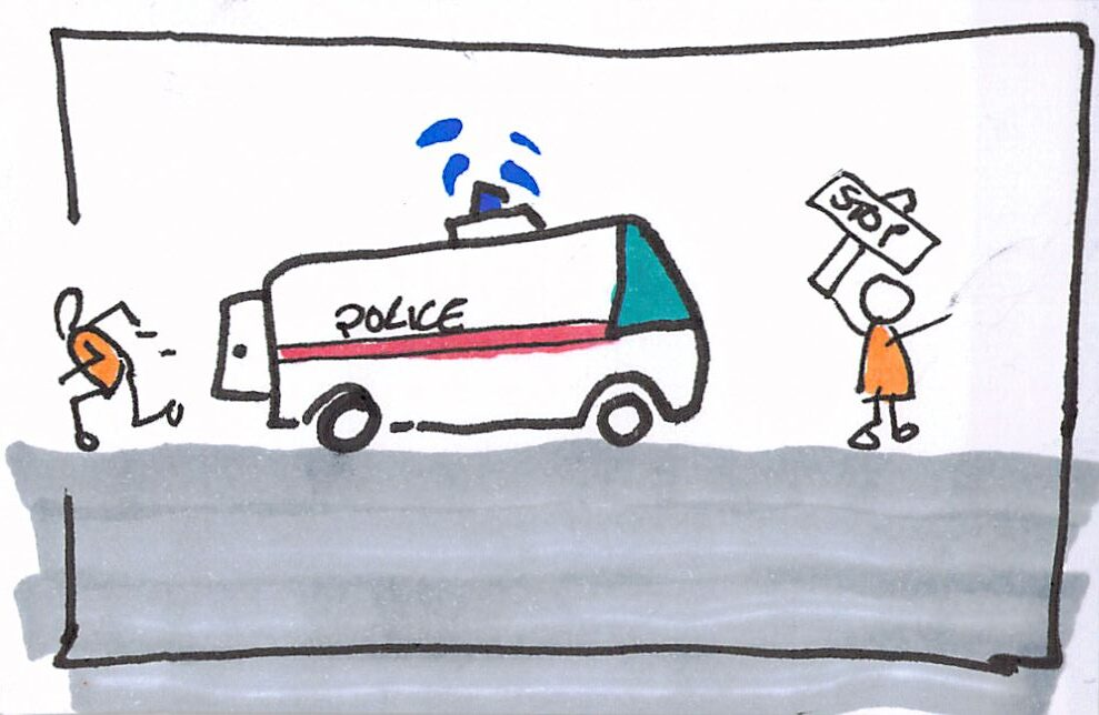 Cartoon of Collaboration to help someone escaping from a police van.