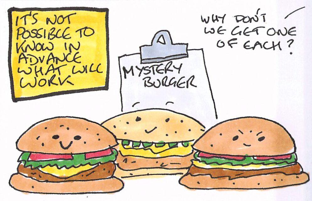 Cartoon of a choice of mystery burgers.